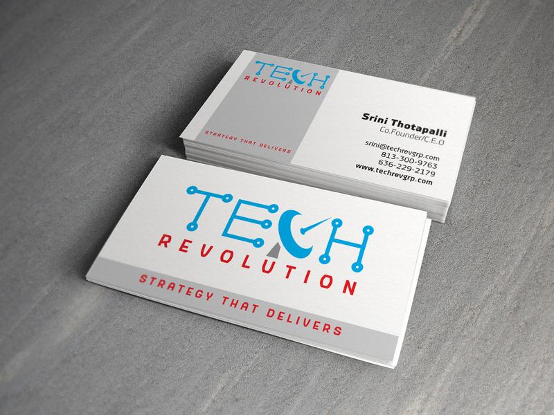 "Business Card design ""TECH Revolution"" typography logo design branding design vector graphic business card businesscard business card design"