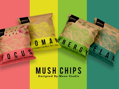 Mush Chips typography logo design vector fiifix on dribble made by fiifix fiifix food packaging mushroom chips mush chips graphic design branding illustration