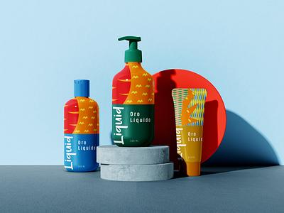 Liquid Cosmetic oro liquido liquid spray bottle bottle cosmetic label cosmetic logo vector illustration graphic design food packaging fiifix on dribble fiifix design branding