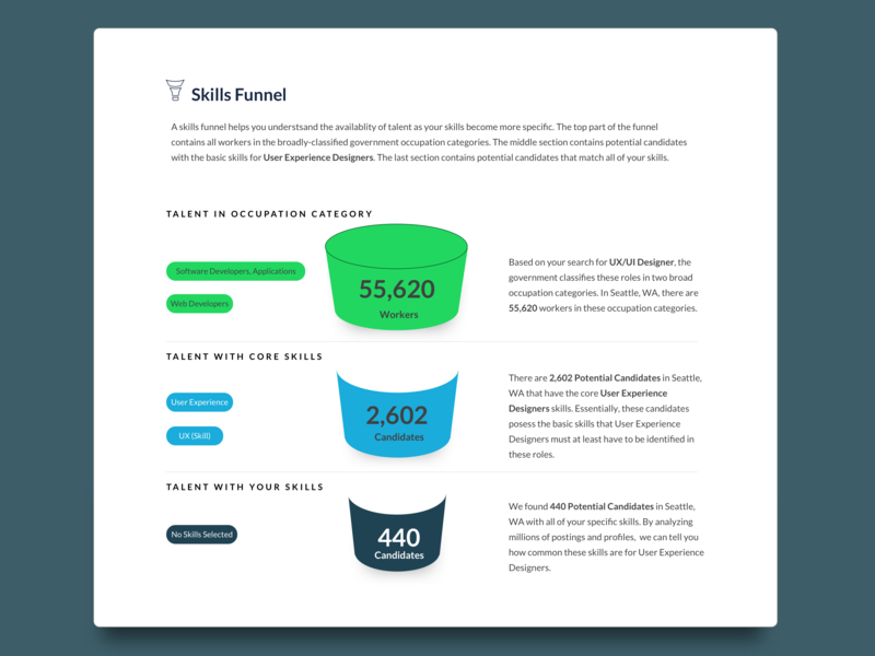 Skills Funnel ui data visulization data viz