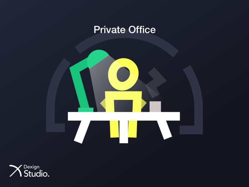 Private Office web intro icons icon artwork application ui vector design coworking space illustration coworking