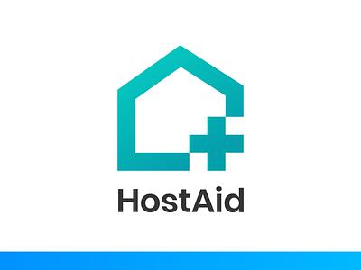 HostAid Logo ui illustration logo design branding aid host logo