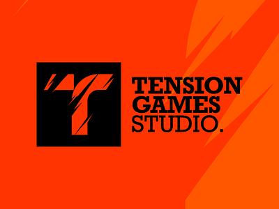 Tension Games Studio. flat branding minimal typography vector artwork illustration design logo design tention logo