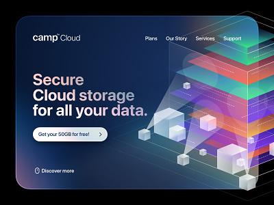 Camp - Storage branding vector artwork design logo typography illustraion building 3d ui webdesign landing web cloud storage