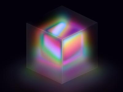 Holographic Liquid Experiment 3d graphic sketch holographic box illustration liquid