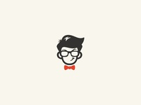 Men Face with glasses and tie logo