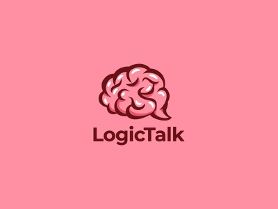 Brain with chat bubble logo app icon app messager message talk chat logical logic brain cute logo icon