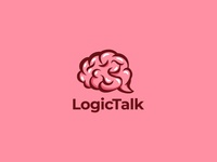 Brain with chat bubble logo