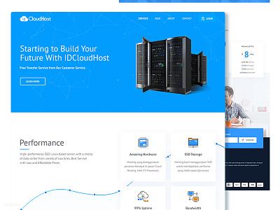 Web Hosting Provider Homepage clean banner blue design homepage hosting web adit septian