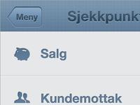 Mobile web-app - main menu