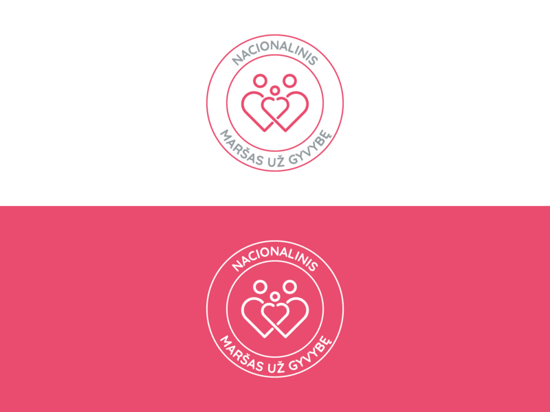 Maršas už Gyvybę | Color Combination vilnius vector red logo red people logo people parents logo design logo lithuanian lithuania life icon design icon heart logo heart family children branding brand identity