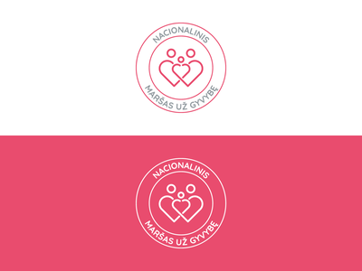 Maršas už Gyvybę   Color Combination vilnius vector red logo red people logo people parents logo design logo lithuanian lithuania life icon design icon heart logo heart family children branding brand identity