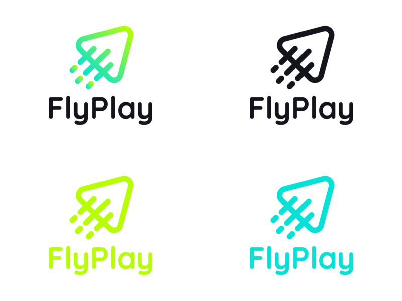 FlyPlay | Logo Color Combinations startup italy logo mark symbol icon logo mark symbol modern logo design play logo airplane logo logo mark design logo mark gradient logo icon design green logo gradient color startup logo vilnius lithuanian lithuania branding logo logo design