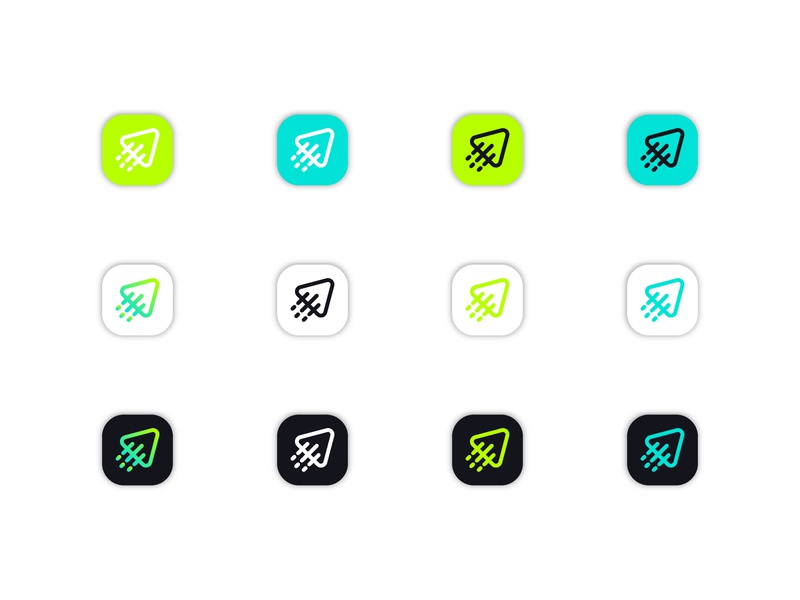 FlyPlay | Icon Design app design mobile app italy holidays vacation travel agency iconography icon set green logo lithuania vilnius gradient color startup branding branding logo logo design startup logo icon design icon