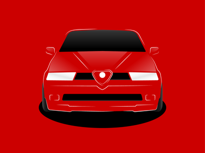 Alfa Romeo 155 | Illustration creative design lithuanian lithuania vilnius alfa romeo 155 concept car redesign red rosso alfa romeo italian car car illustration poster designer poster design car design vector illustrator vector illustration vector design illustration