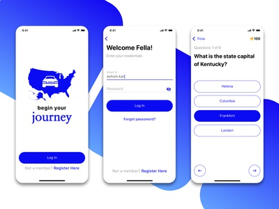 Mobile app Re-design work freelance design ux ui design login trivia ios mobile app travel