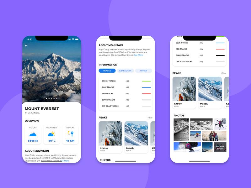 ski - Mobile App mount everest peaks photos mountain mobile mobile app ux ui design