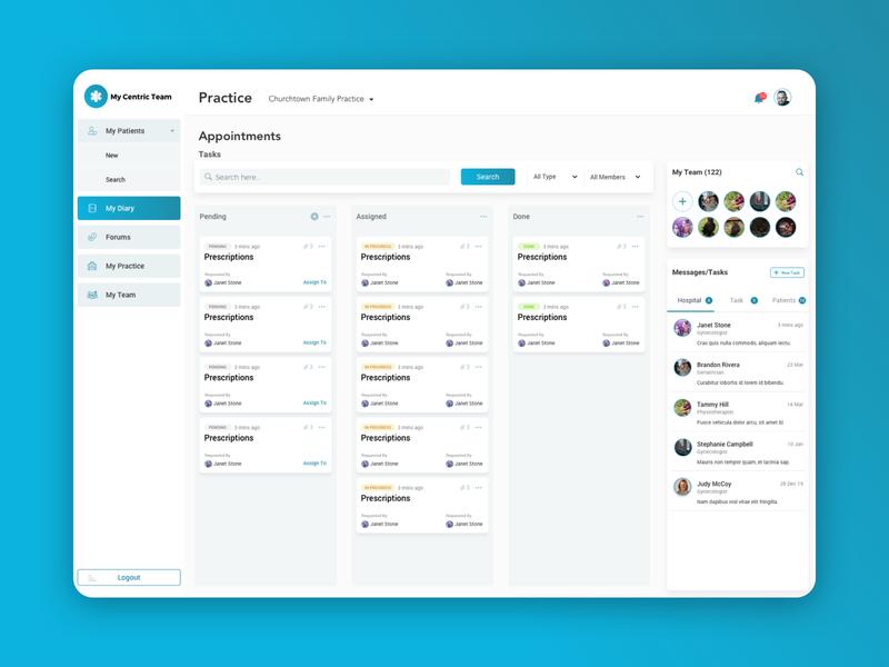 Hospitals Management Web App collaboration management system medical app hospital admin panel webapp ux ui design
