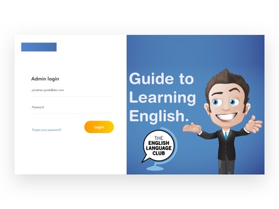 Login Screen - web Portal ux ui design elearning learning app english learning ui design website login page login design login form