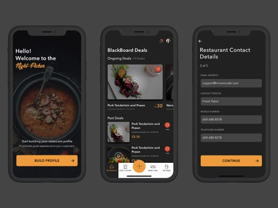 Restaurant App- shot dribble mobile app dark theme dark mode dark app dark ui typogaphy form ux ui design food app merchant restaurant