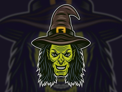 Witch head colorful vector illustration witch head witchcraft witch vintage vector illustration vector t-shirt print mascot logodesign logo inking illustraion halloween graphicdesign design colorful cartoon apparel design apparel