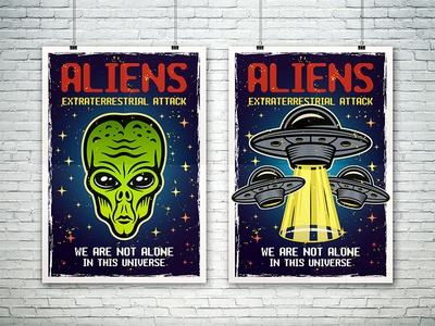 Aliens two posters templates for microstocks