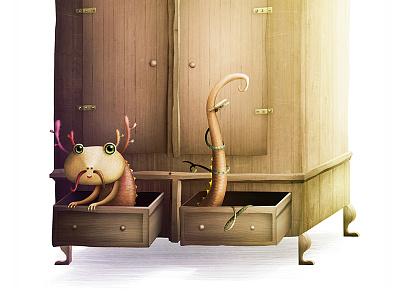 Little draculotle illustration animals lightning character character design closet wardrobe hide and seek creature dragon axolotl