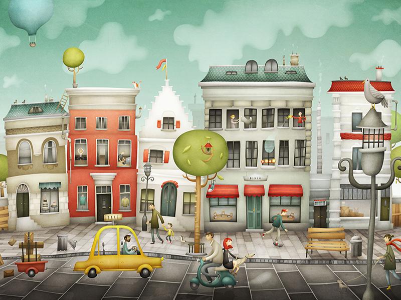 Street vespa birds hot airballoon town city traffic car taxi detail houses street illustration