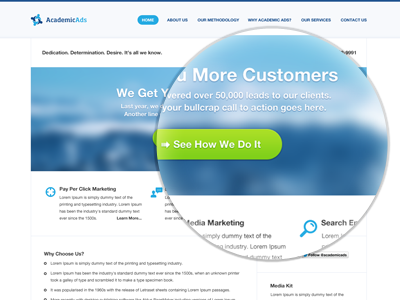 Academic Ads web design home homepage banner logo