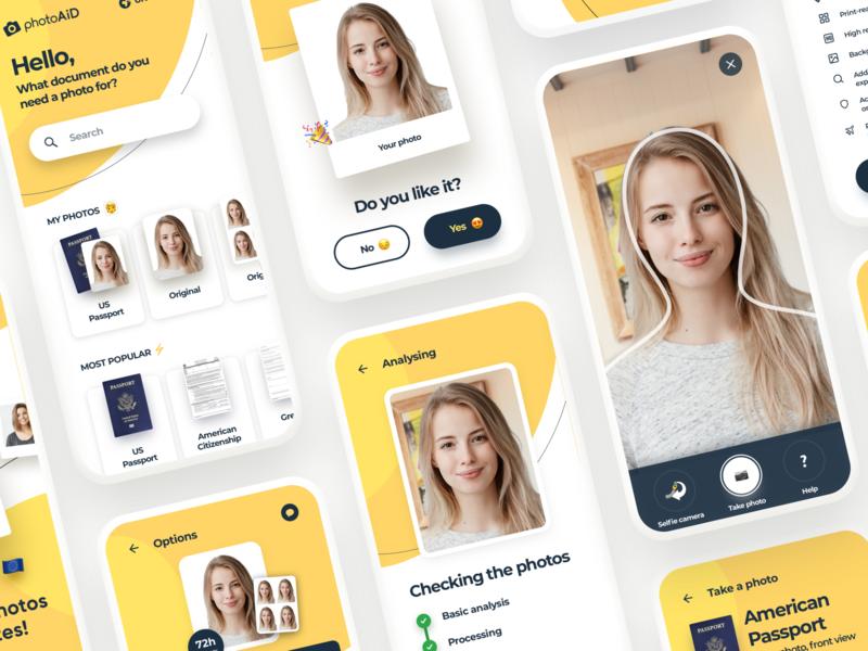 PhotoAiD redesign software design vibrant yellow ux design ux uiux ui modern mobile app mobile minimal fluid emoji