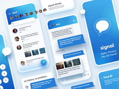 Signal Messenger App Redesign ux design design vibrant chat app chat messenger iphone app mobile app mobile minimal uiux ui redesign signal