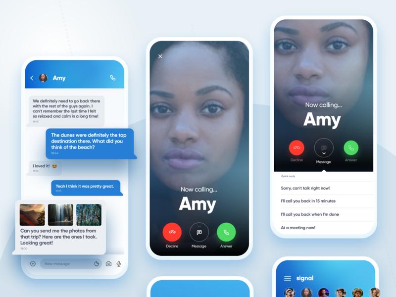 Signal Messenger Calling Options gradients blue mockups uiux ui modern minimal mobile app mobile chat app messenger signal