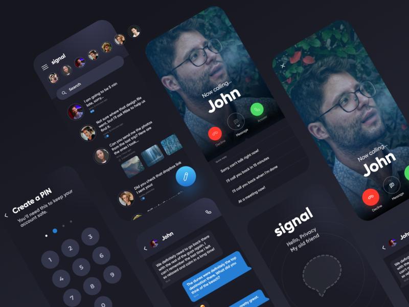 Signal Messenger Dark Mode version dark theme dark mode dark ui dark messenger chat app ux design modern uiux ui mobile app mobile minimal