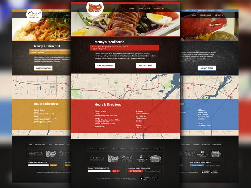 Restaurant Group Designs restaurant group web site website steak italian seafood map