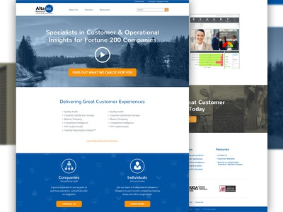 Customer & Operational Research Co. Homepage alta360 operational insights responsive customer marketing research homepage website
