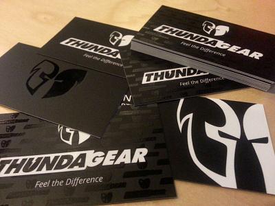 ThundaGear Business Cards dark white black spot uv laminate silk business cards