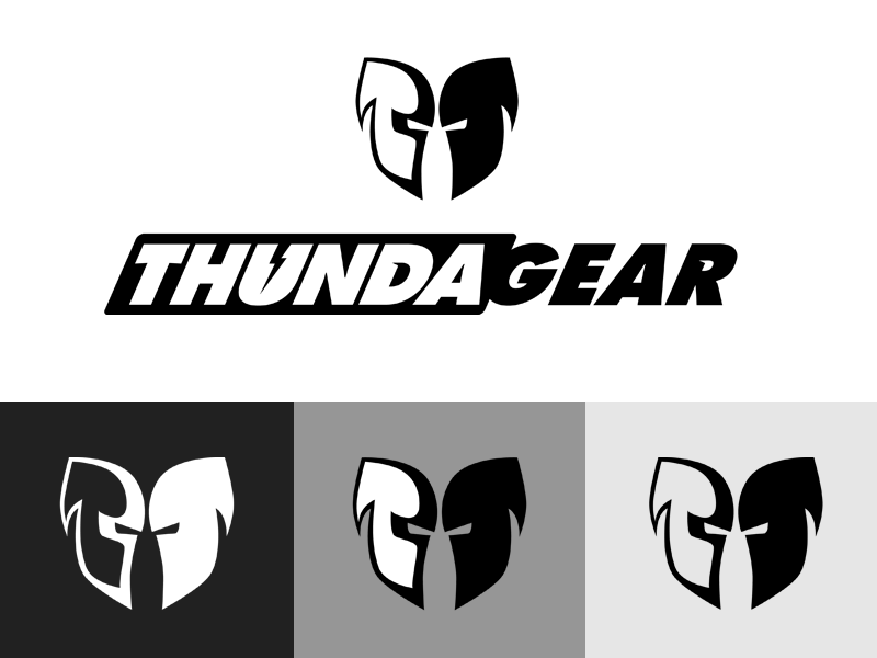 ThundaGear Logo shield mask gear thunder lightning helmets white black protection head logo