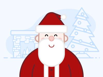 Santa Claus simple christmas tree fireplace christmas santa claus santa