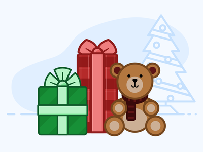 Teddy Bear & Gifts wrapping paper vector tree teddy bear presents gifts christmas