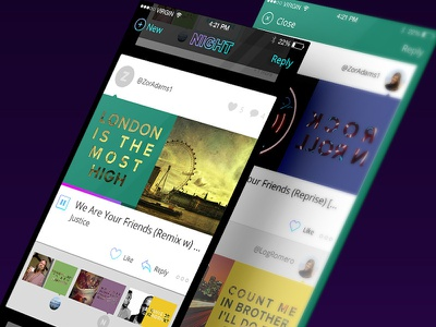 Card Feed Layout feed design mobile iphone ui ux app ios night