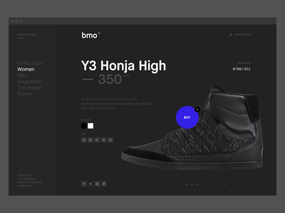 bmo™ — Product page typography button dark shopping web design web product shop flat clean pierre georges nerval