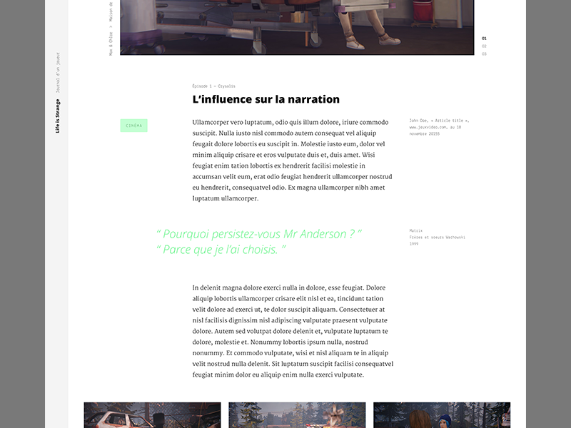 Life Is Strange — Blog V2 slideshow slider images life is strange typography article blog minimal flat clean pierre georges nerval