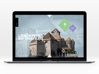 Château de Chillon fullscreen historical narrative documentary castle ui web design pierre georges nerval