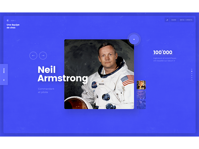 Apollo 11 — Neil Armstrong technology space nasa apollo narrative documentary ui web design pierre georges nerval