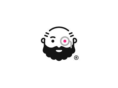 Cyborg chatbot character guy old grandfather beard minimal robot cyborg logo