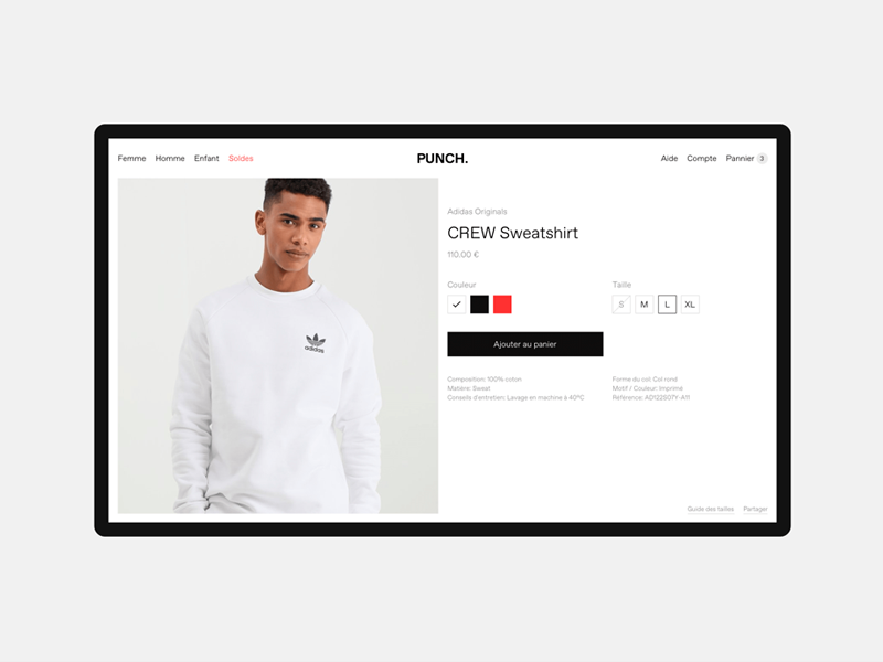 Punch — Product page ui product typography clothes clothings clean minimal shop e-commerce web design webdesign web