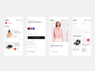 Punch — Mobile mobile product typography clothes clothings ui minimal shop e-commerce web design webdesign web