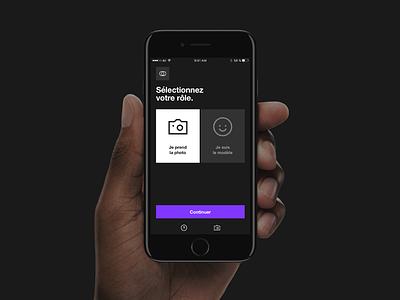 BeFramed selfie photography icons minimal dark app mobile