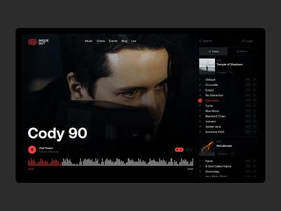 INSIDE OUT — Artist page album artist playlist player audio clean music dark web design design web