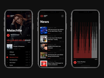 INSIDE OUT – Mobile electro sound feed news player audio application app music dark design web mobile